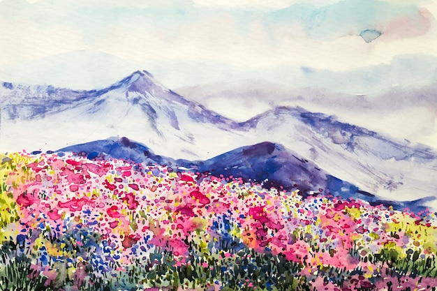 Watercolor spring landscape
