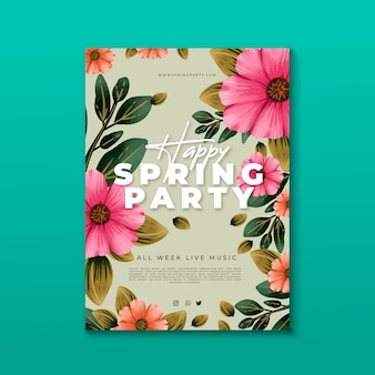 Watercolor spring party floral flyer template