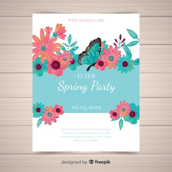 Watercolor spring party flyer poster