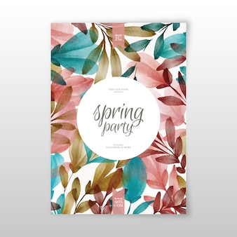Watercolor spring party flyer template concept