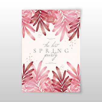 Watercolor spring party flyer template