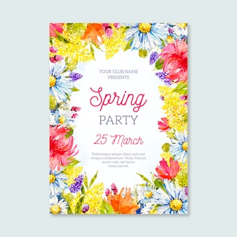 Watercolor spring party poster template
