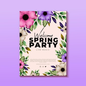Watercolor spring party vertical poster template