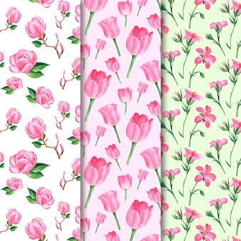 Watercolor spring pattern collection with flowers