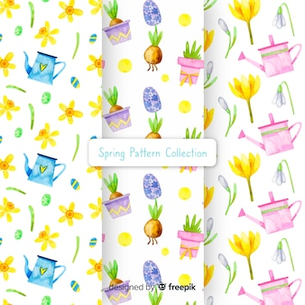Watercolor spring pattern collection