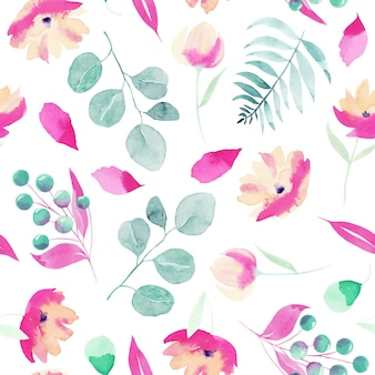 Watercolor spring pink wildflowers, berries, eucalyptus branches and leaves seamless pattern