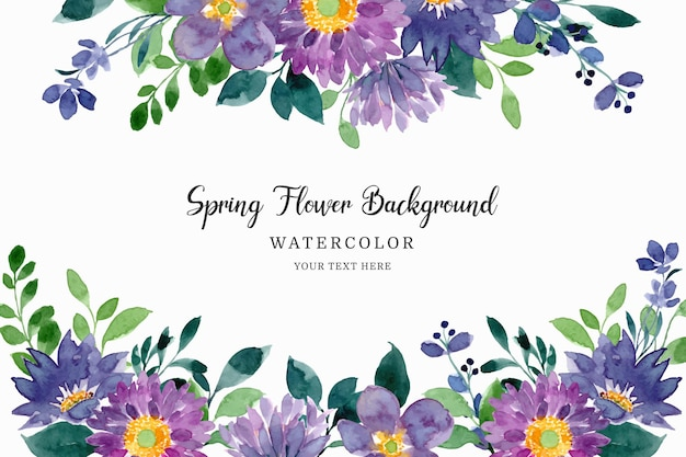Watercolor spring purple green floral background