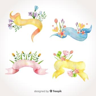 Watercolor spring ribbon pack