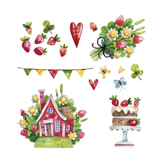 Watercolor of spring rustic set with houses, strawberries and flowers on white
