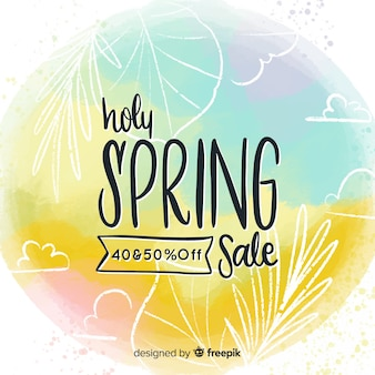 Watercolor spring sale background
