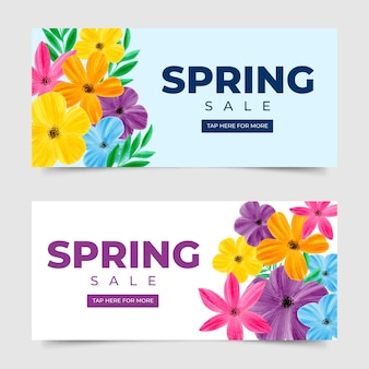 Watercolor spring sale banner collection concept
