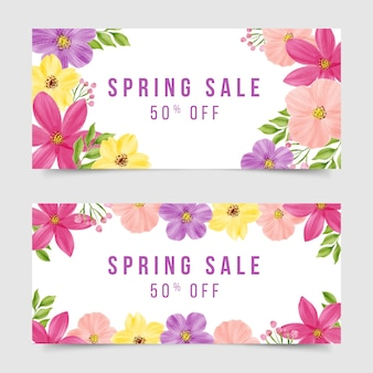 Watercolor spring sale banner collection theme