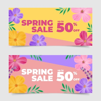 Watercolor spring sale banner collection