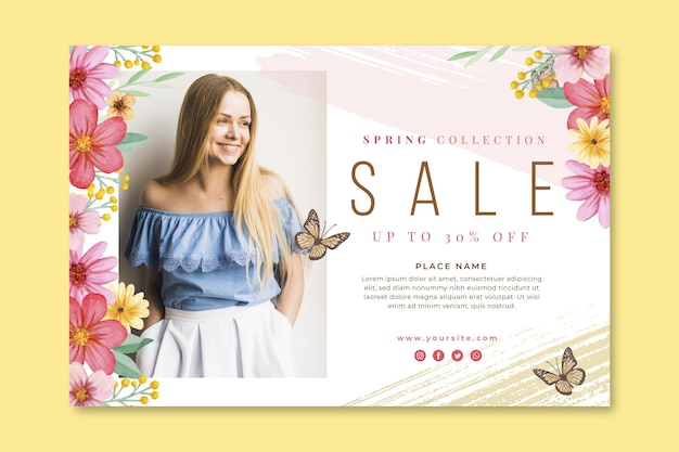 Watercolor spring sale banner template