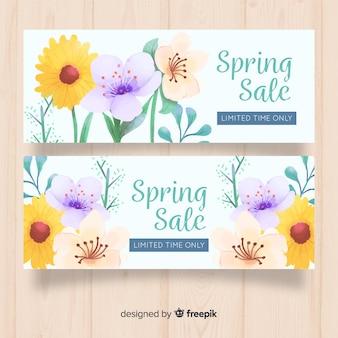 Watercolor spring sale banner