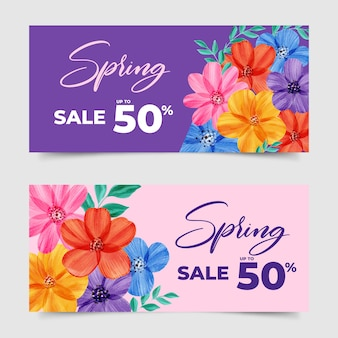 Watercolor spring sale banners concept