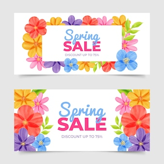 Watercolor spring sale banners design