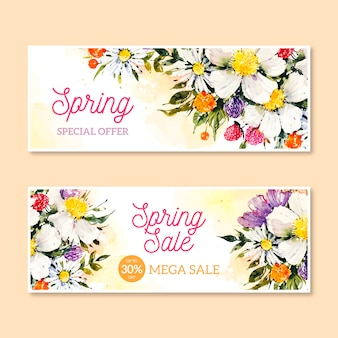 수채화 봄 판매 배너