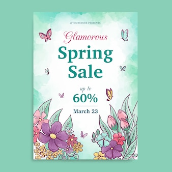 Watercolor spring sale flyer template with butterflies