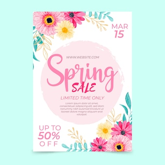 Watercolor spring sale flyer template