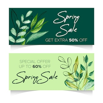 Watercolor spring sale horizontal banners with discounts