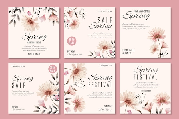 Collezione di post di instagram di vendita di primavera dell'acquerello