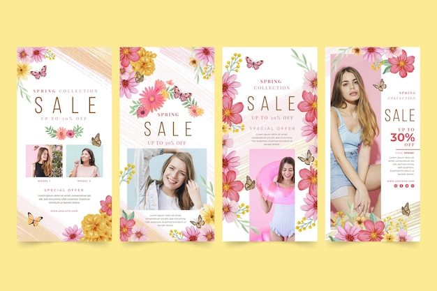 Watercolor spring sale instagram stories collection