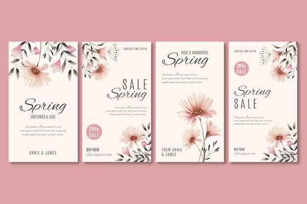 Watercolor spring sale instagram stories set