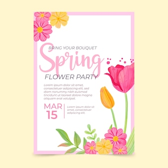 Watercolor spring sale poster template