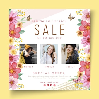 Watercolor spring sale squared flyer template