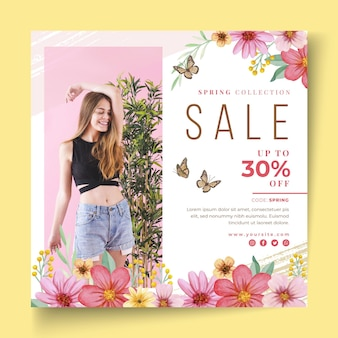 Watercolor spring sale squared flyer