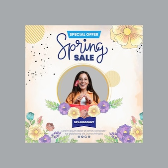 Watercolor spring squared flyer template