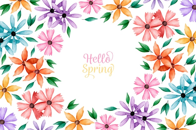 Watercolor spring wallpaper with colorful flowers