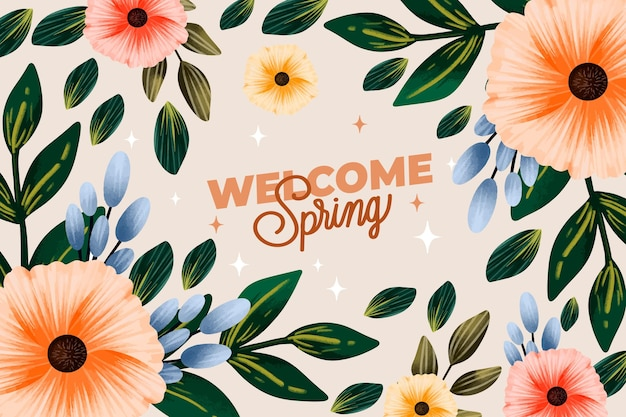 Carta da parati primavera acquerello