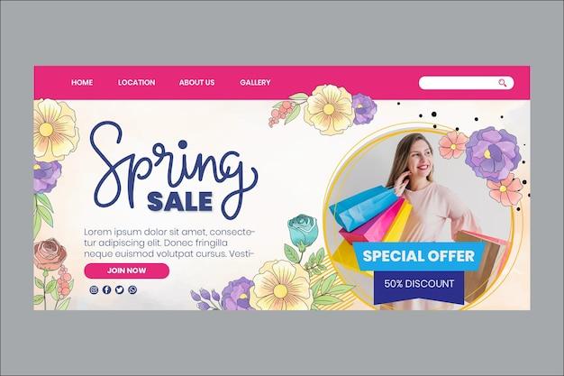 Modello web di primavera dell'acquerello