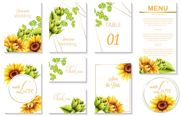 Watercolor spring wedding event invitation cards with green artichoke and sunflower