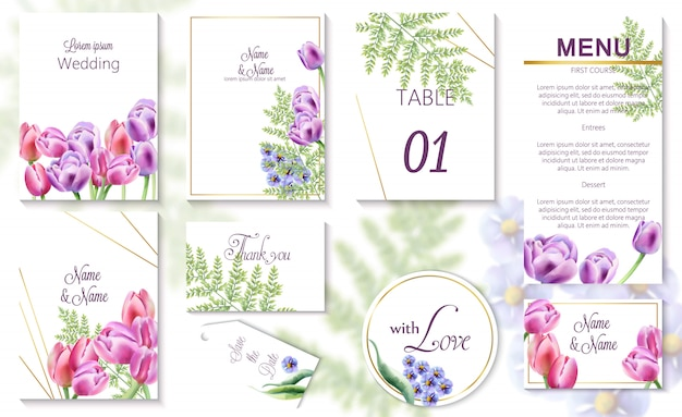 Watercolor spring wedding event invitation cards with tulip and bluebell flowers