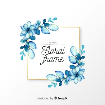 Watercolor square spring floral frame