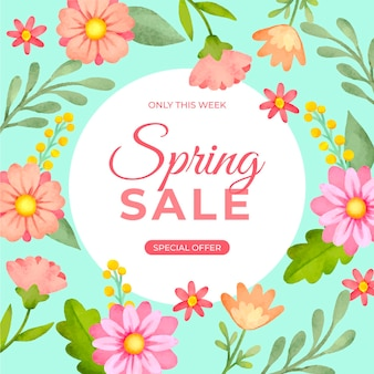 Watercolor squared banner with spring sale