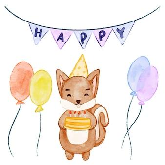 水彩リス-誕生日パーティー