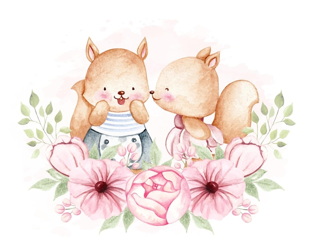 Watercolor squirrel with flower