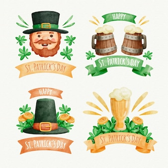 Watercolor st. patrick's day badge collection with traditional objects