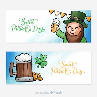 Watercolor st. patrick's day banner