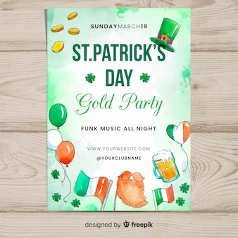Watercolor st patrick's party poster