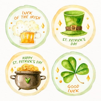 Watercolor st. patricks day badge collection