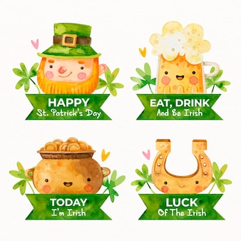 Watercolor st. patricks day label collection