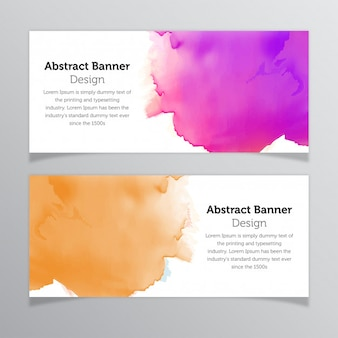 Watercolor stain abstract banner design