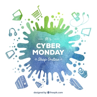 Watercolor stain background of cyber monday