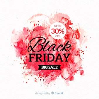 Watercolor stain black friday banner red