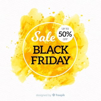 Watercolor stain black friday banner yellow